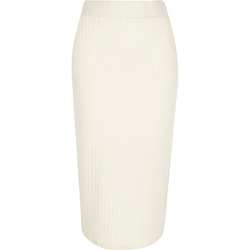 Cream brushed rib jersey midi pencil skirt