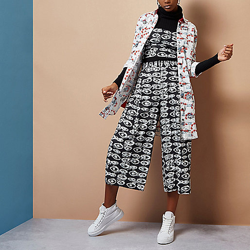 Black Design Forum eye print culottes