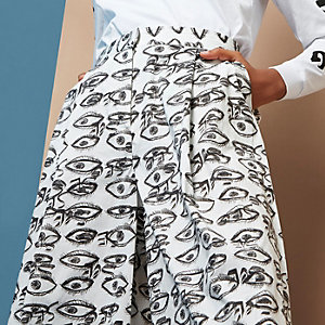 White Design Forum eye print culottes