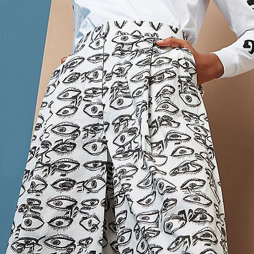 Design Forum - Witte broekrok met ogenprint
