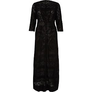 Black embroidered lace maxi shirt dress