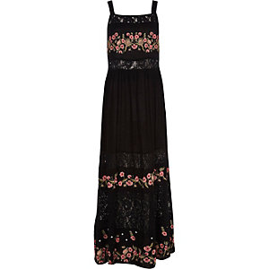 Black floral embroidered tiered maxi dress