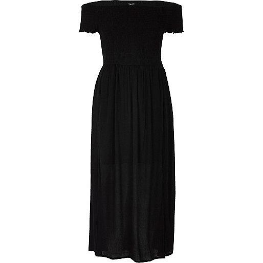 Black shirred bardot maxi dress