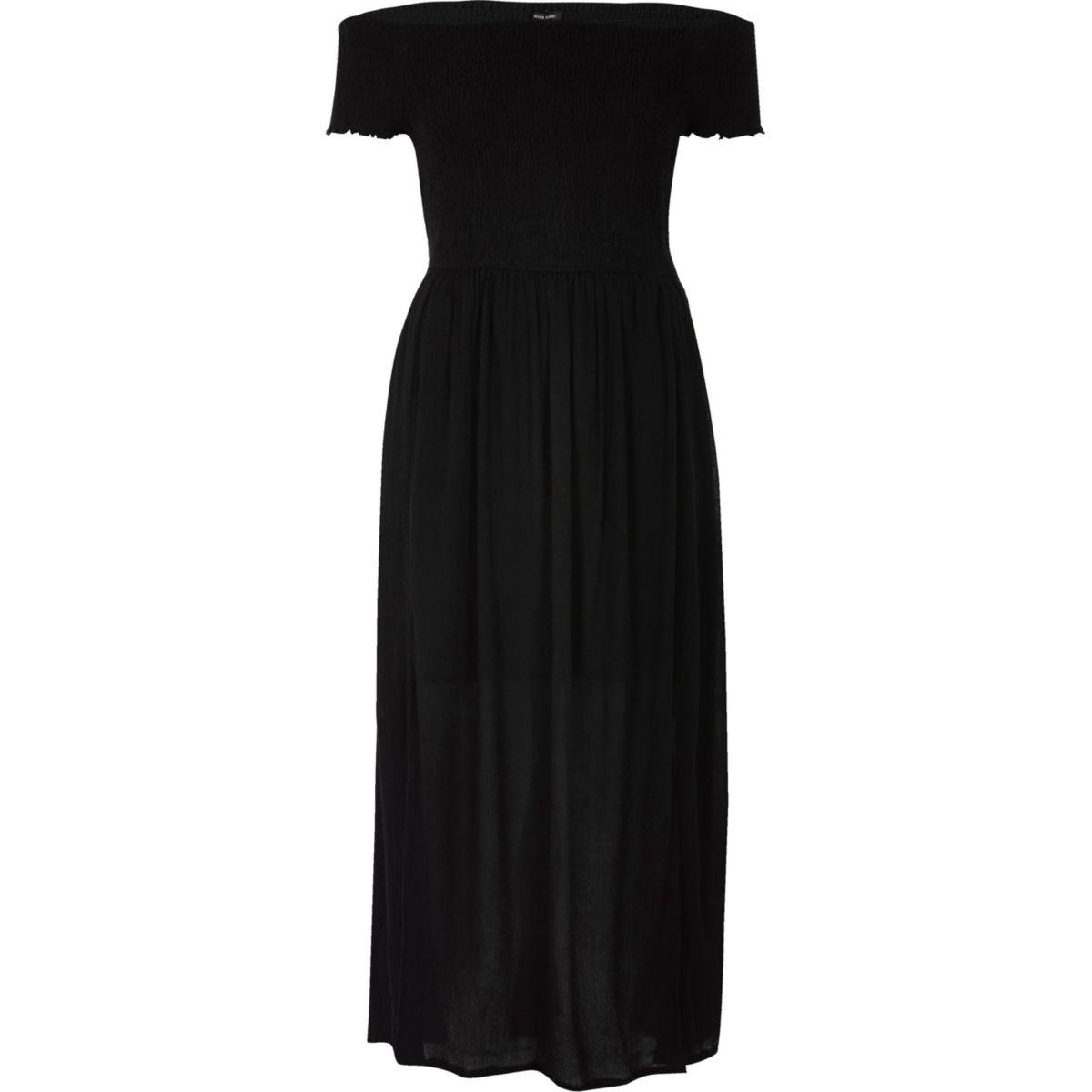 Robe longue Bardot noire à fronces