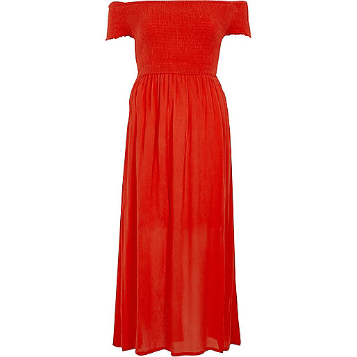 Red shirred bardot maxi dress