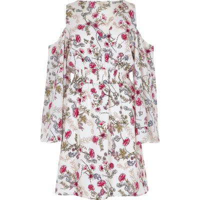 Witte schouderloze jurk met bloemenprint