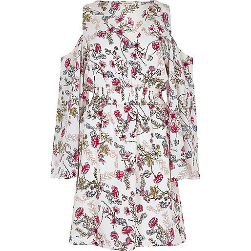 White floral print cold shoulder dress