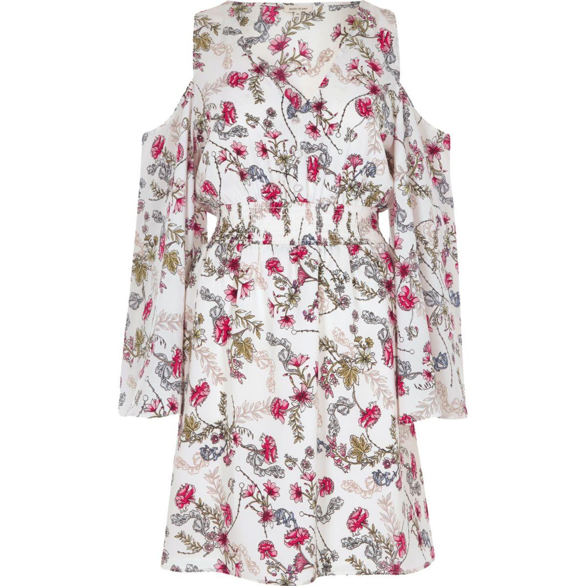 White floral print cold shoulder dress