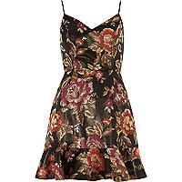 Black floral jacquard cami mini dress