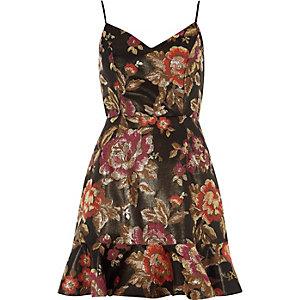 Zwarte jacquard mini-jurk met bloemenprint
