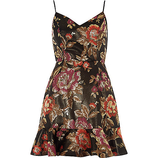 Black floral jacquard cami mini dress