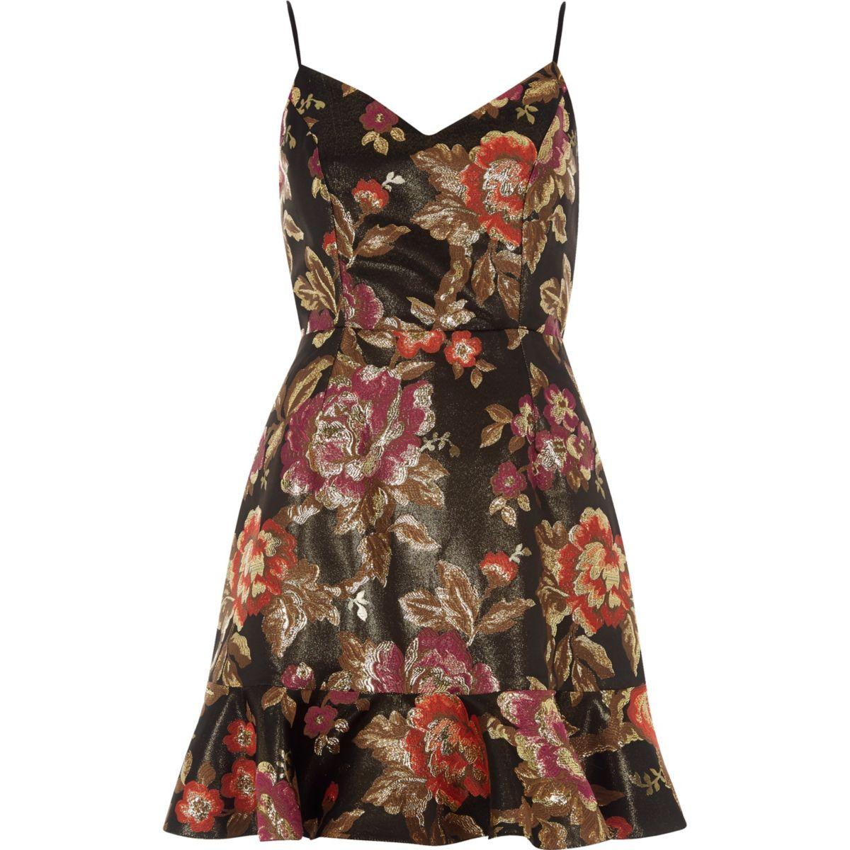 Mini robe caraco en jacquard à fleurs noire