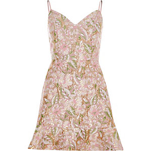 Pink brocade strappy mini dress