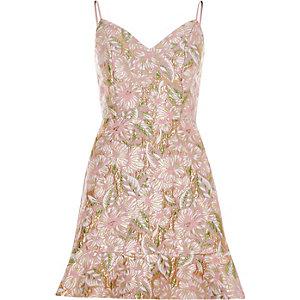 Pink brocade strappy mini dress