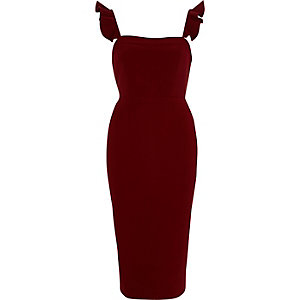 Dark red frill cami bodycon midi dress