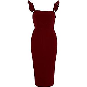 Dark red frill cami bodycon midi dress