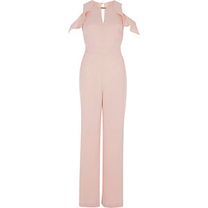 Pink frill sleeve cold shoulder jumpsuit