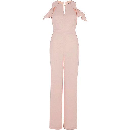Pink frill sleeve cold shoulder jumpsuit