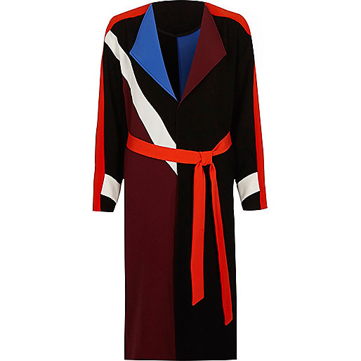 Black colour block belted duster coat
