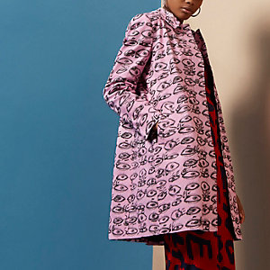 Pink Design Forum eye print coat