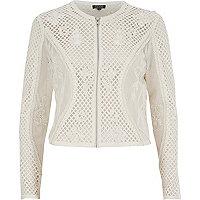 White mesh embellished cropped jacket
