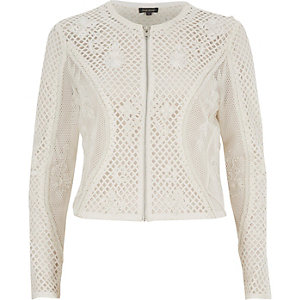 White mesh embellished cropped jacket