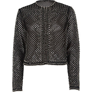 Black mesh embellished cropped jacket
