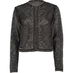 Black mesh embellished cropped jacket