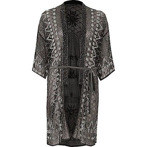 Black embellished tie waist kimono
