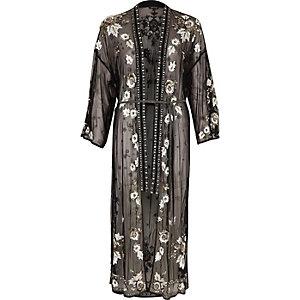 Zwarte verfraaide lange kimono van mesh met lovertjes