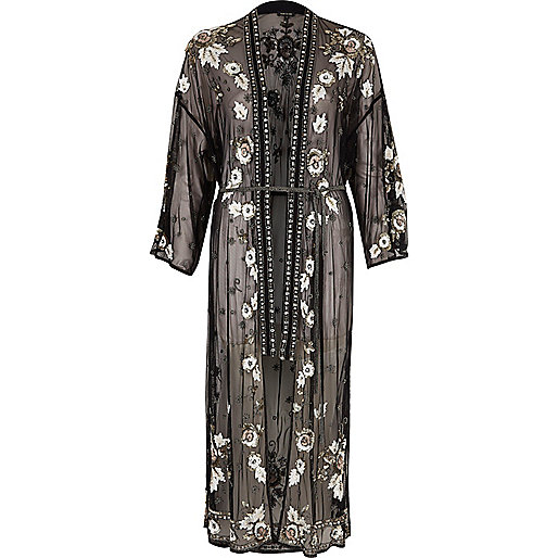 Black mesh sequin embellished longline kimono