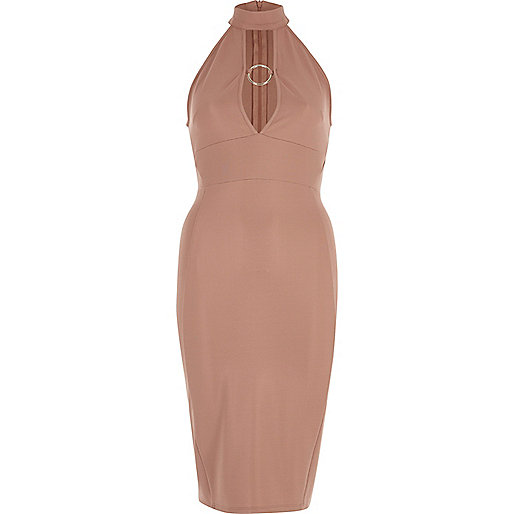 Light pink ring fitted high neck midi dress