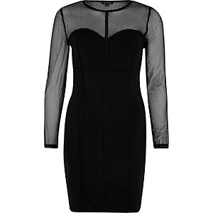 Black mesh corset seam bodycon dress
