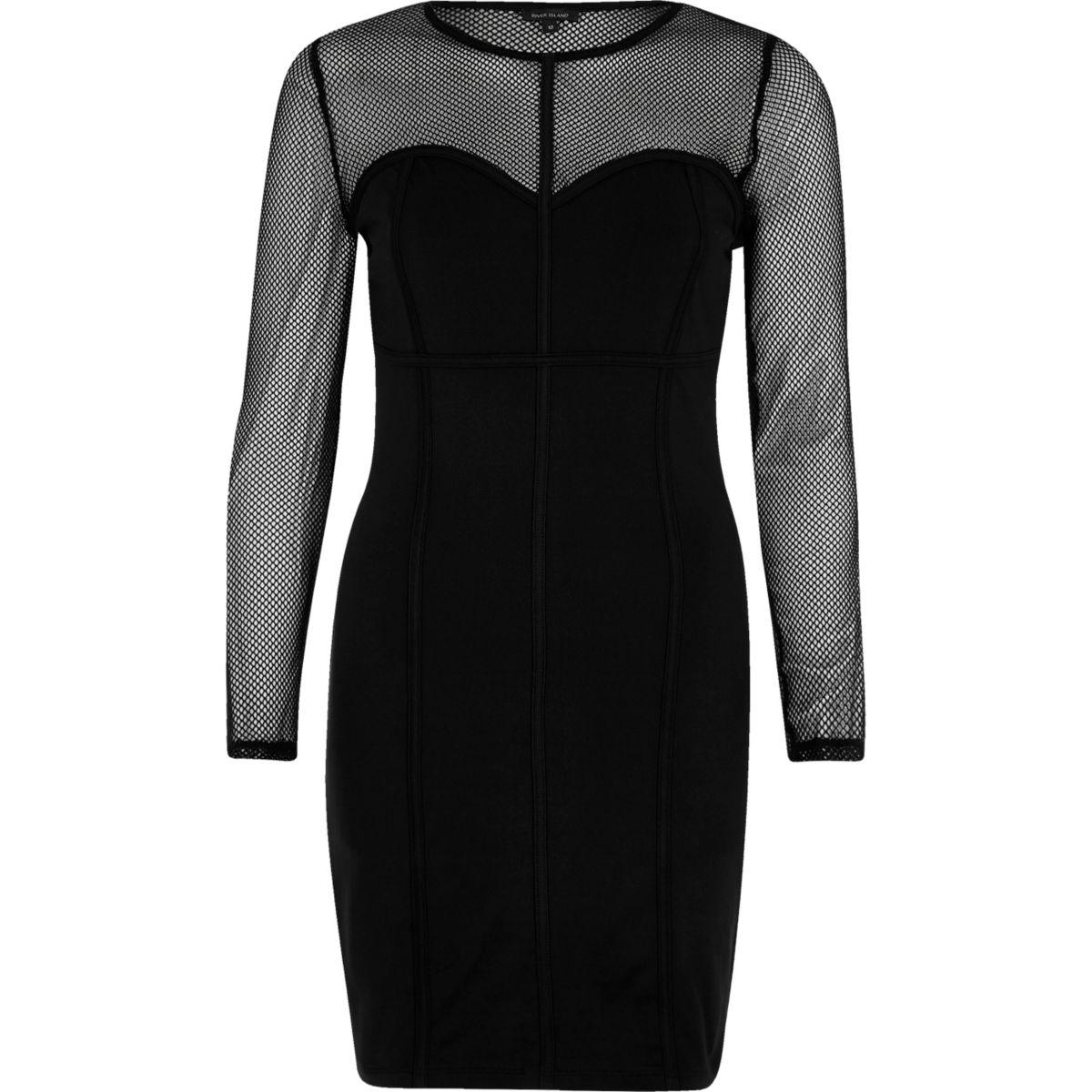 Black mesh corset seam bodycon dress