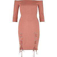 Pink lace-up split bardot bodycon dress