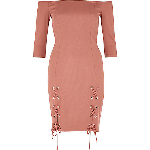 Pink lace-up split bardot bodycon dress