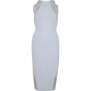Light blue lace insert bodycon midi dress