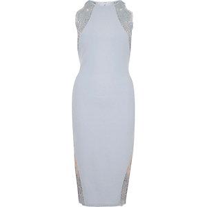 Light blue lace insert bodycon midi dress
