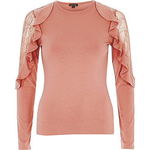 Dark pink frill lace sleeve top