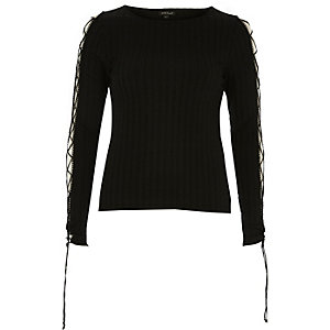Black ribbed lattice sleeve top