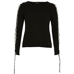 Black ribbed lattice sleeve top