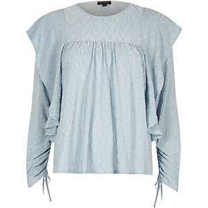 Light blue frill drawstring sleeve top