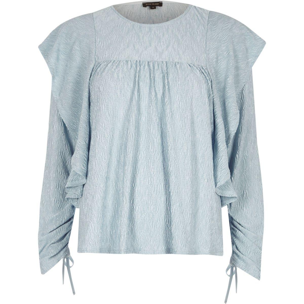 Light blue frill drawstring sleeve top