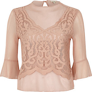 Light pink dobby mesh lace bell sleeve top