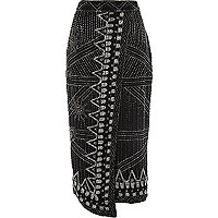 Black bead embellished wrap pencil skirt