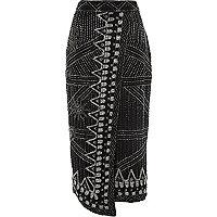 Black bead embellished wrap pencil skirt