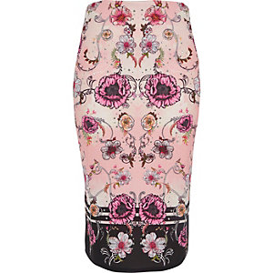 Pink floral print pencil skirt