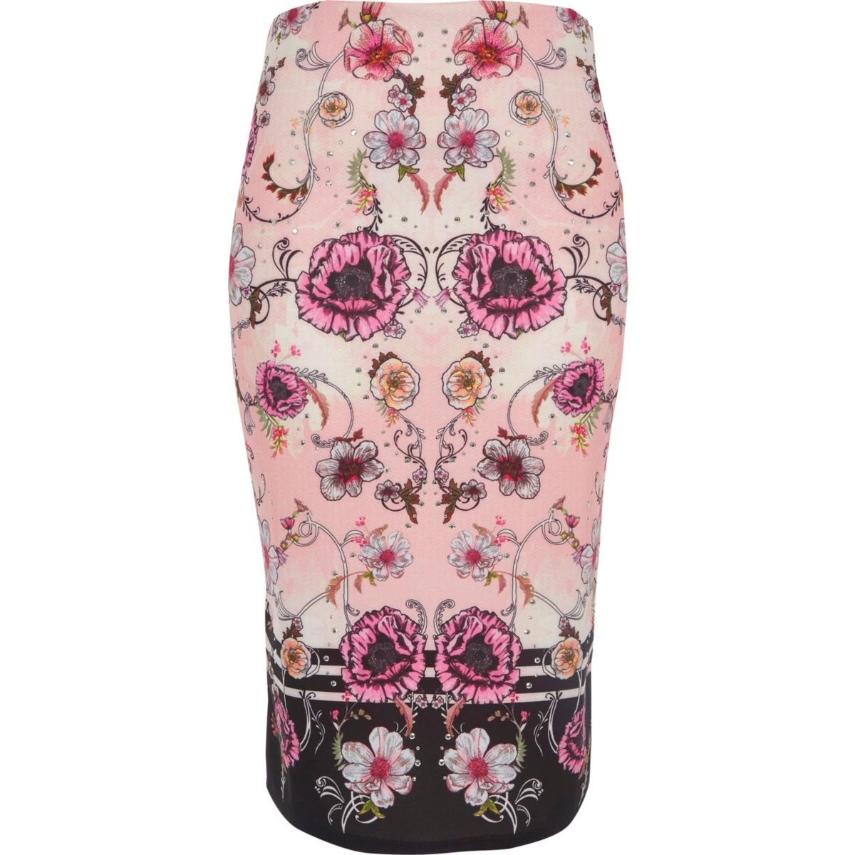 Pink floral print pencil skirt