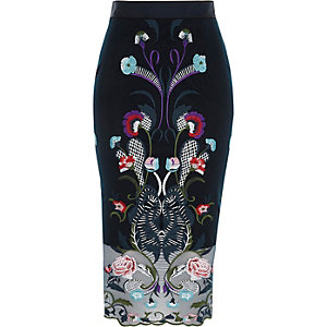 Navy mesh floral embroidered pencil skirt