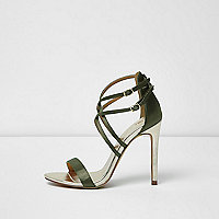 Khaki green wide fit caged sandals
